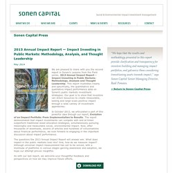 Sonen Capital - San Francisco, CA - Resources - May 2014 - 2013 Annual Impact Report — Impact Investing in Public Markets: Methodology, Analysis, and Thought Leadership - Impact investing - Social & Environmental impact investment management