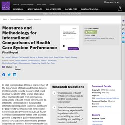 Measures and Methodology for International Comparisons of Health Care System Performance: Final Report