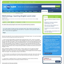 Methodology: teaching English word order