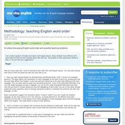 Methodology: teaching English word order