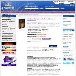 The Elgar Companion To Recent Economic Methodology by John B. Davis, D. W. Hands, - Edward Elgar Publishing
