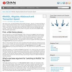 #NoSQL, #bigdata, #datavault and Transaction Speed