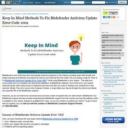 Keep In Mind Methods To Fix Bitdefender Antivirus Update Error Code 1002 by Amara Garcia
