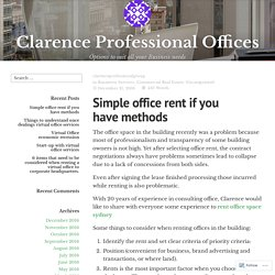 Simple office rent if you have methods – Clarence Professional Offices