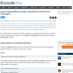 jQuery Fading Methods Example using fadeIn(), fadeOut() and fadeToggle()
