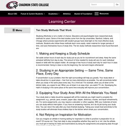 Ten Study Methods That Work - Learning Center - Chadron State College