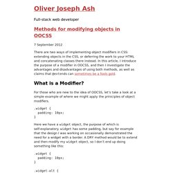 Methods for modifying objects in OOCSS – Oliver Joseph Ash
