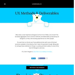 UX Methods & Deliverables — Hints from the lazy bear