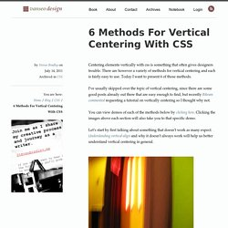 6 Methods For Vertical Centering With CSS - Vanseo Design