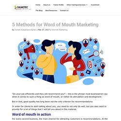 5 Methods for Word of Mouth Marketing
