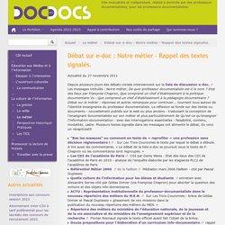 Débat sur e-doc: Notre métier - Rappel des textes signalés.