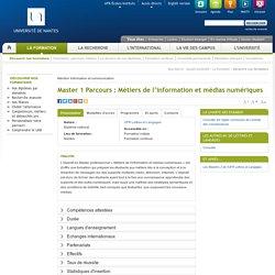 Master 1 Parcours : Métiers de l'information et médias numériques