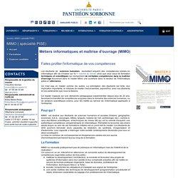 Panthéon Sorbonne (Paris 1) : M2 Métiers informatiques et maîtrise d'ouvrage