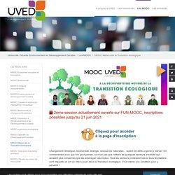 MOOC Métiers de la Transition écologique - Uved