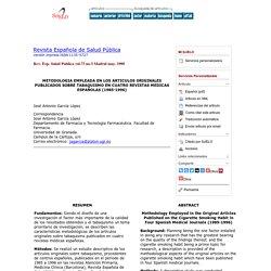 Metodología empleada en los artículos originales publicados sobre tabaquismo en cuatro revistas médicas españolas, (1985-1996)