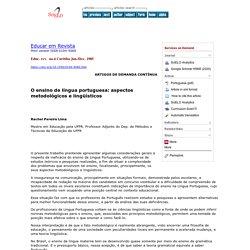 O ensino de língua portuguesa: aspectos metodológicos e lingüísticos