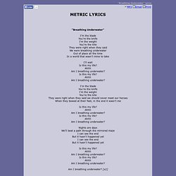METRIC LYRICS - Breathing Underwater