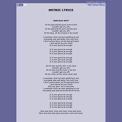 METRIC LYRICS - Gold Guns Girls