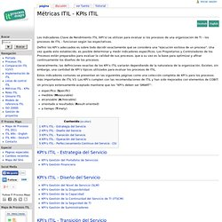 Métricas ITIL - KPIs ITIL - IT Process Wiki