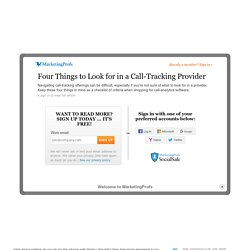 Metrics & ROI - Four Things to Look for in a Call-Tracking Provider
