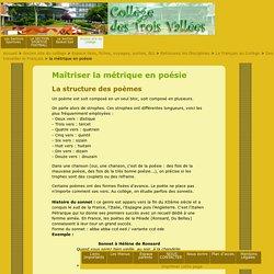 la métrique en poésie : Collège des Trois Vallées