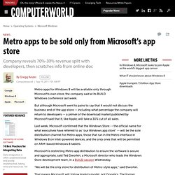 Metro Apps to Be Sold Only From Microsoft's App Store | PCWorld