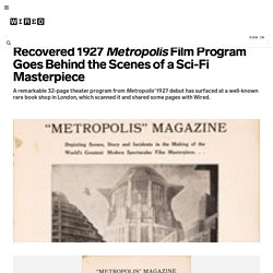 Recovered 1927 Metropolis Film Program Goes Behind the Scenes of a Sci-Fi Masterpiece | Underwire