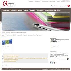 Coûts et rentabilité des ENR en France métropolitaine - Rapports thématiques - Publications