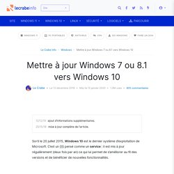 Mettre à jour Windows 7 ou 8.1 vers Windows 10 - Le Crabe Info