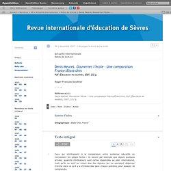 Denis Meuret. Gouverner l'école – Une comparaison France/Etats-Unis