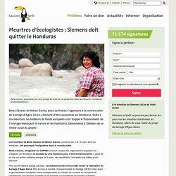 Meurtres d'écologistes : Siemens doit quitter le Honduras