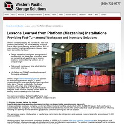 Lessons Learned from Platform (Mezzanine) Installations - Western Pacific Storage Solutions