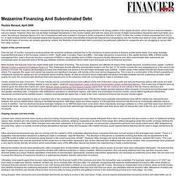 Mezzanine Financing And Subordinated Debt