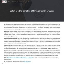What are the benefits of hiring a family lawyer?