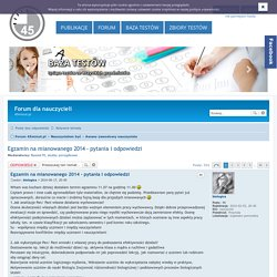 Egzamin na mianowanego 2014 - pytania i odpowiedzi - Forum dla nauczycieli