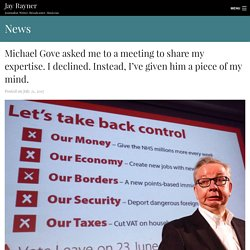 *****Food security: Michael Gove asked me to a meeting to share my expertise. I declined. Instead, I've given him a piece of my mind. – Jay Rayner