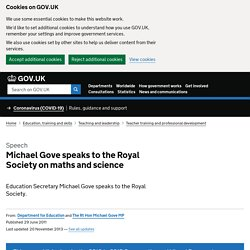 Michael Gove speaks to the Royal Society - The Department for Education
