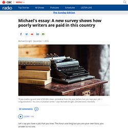 Michael's essay: A new survey shows how poorly writers are paid in this country