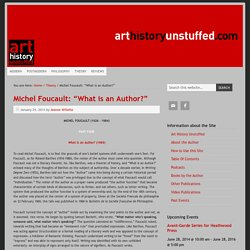 "Michel Foucault: ""What is an Author?"""