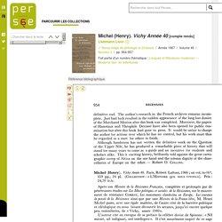 Michel (Henry). Vichy Année 40