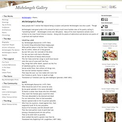 Michelangelo Poems, Poems by Michelangelo | Michelangelo Gallery
