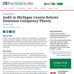 Audit in Michigan County Refutes Dominion Conspiracy Theory