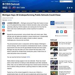 Michigan Says 38 Underperforming Public Schools Could Close