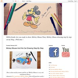 Mickey Mouse And His Car Drawing Step By Step
