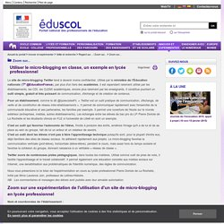 Micro-blogging en classe - EduSCOL