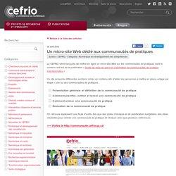 Un micro-site Web dédié aux communautés de pratiques