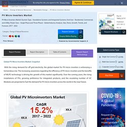 PV Micro Inverters Market To Reach US$990.3 Mn by 2022