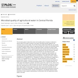 PLOS 11/04/17 Microbial quality of agricultural water in Central Florida