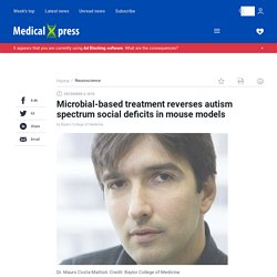 Microbial-based treatment reverses autism spectrum social deficits in mouse models