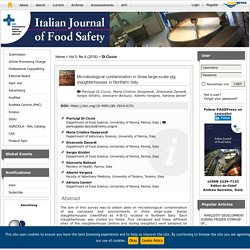 ITALIAN JOURNAL OF FOOD SAFETY - 2016 - Microbiological contamination in three large-scale pig slaughterhouses in Northern Italy